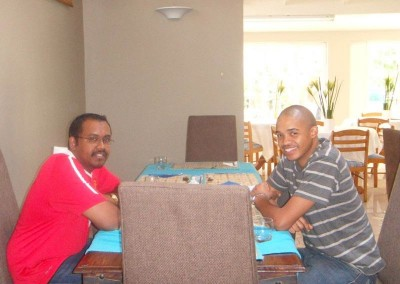 Krishnen and Hebert performing work at a client (bed and breakfast)