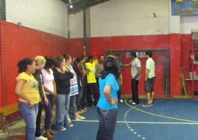 The teams line up to be chosen with each partner being a captain