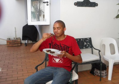 Herbert enjoying his lunch