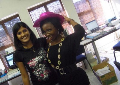 Praneshree and Phumla getting into the mood to entertain the children