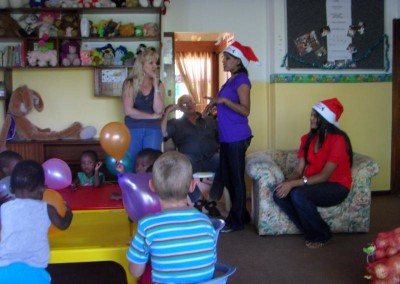 Charmaine and Praneshree handing out gifts