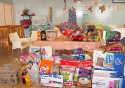Some of the donations on display