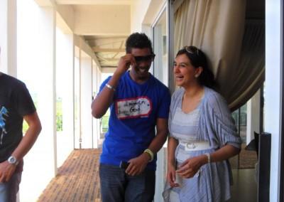 Kevin and Luthfiya sharing a joke